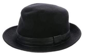 Hermà ̈s Cashmere Leather-Trimmed Fedora Black Hermà ̈s Cashmere Leather-Trimmed Fedora