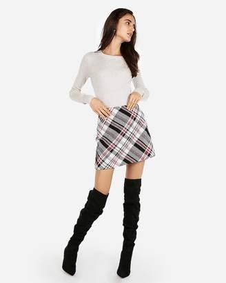 Express Large Plaid Clean A-Line Mini Skirt