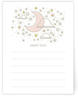 Over The Moon Note Card Children's Personalized Stationery