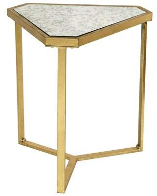 Generic Roxie Rose Triangle Side Table - Gold - Antique Glass Top