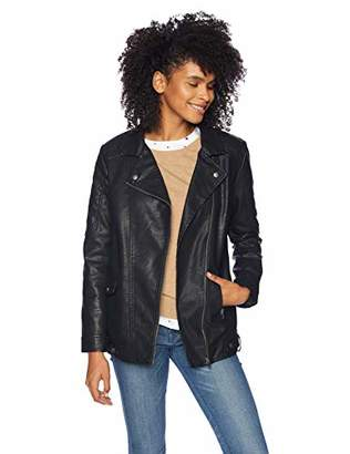 Jack by BB Dakota Junior's Can't Be Can't Be Tamed Textured Vegan Leather Long Moto Jacket