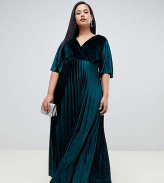 bcdcf2cc9c1 Asos DESIGN Curve kimono pleated velvet maxi skater dress