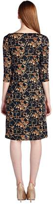 Margaux Marcelle 3/4 Sleeve Slim Fit Sheath Dress with Abstract Patterns