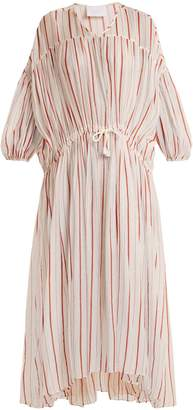 Binetti LOVE Drawstring-waist striped cotton dress