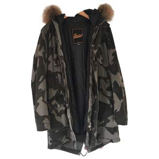 Green Cotton Barbed Coat for Women
