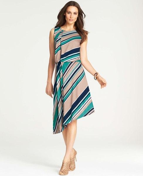 Ann Taylor Striped Tucked Asymmetric Hem Dress