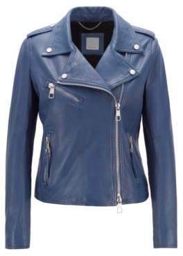 BOSS Hugo Asymmetric biker jacket in nappa lambskin leather soft inner lining 4 Blue