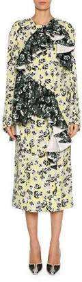 Marni Mixed Pansy-Print Long-Sleeve Ruffle Midi Dress, White/Multi