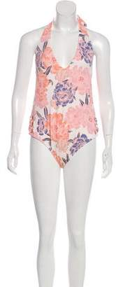 Tori Praver Printed Halter Swimsuit w/ Tags