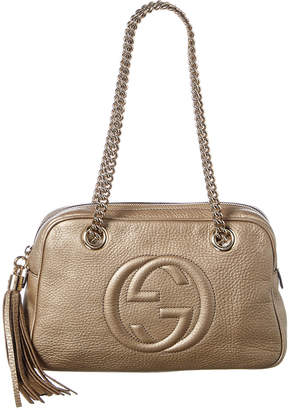 bc1c1198f080 Gucci Bronze Calfskin Leather Soho Chain Shoulder Bag