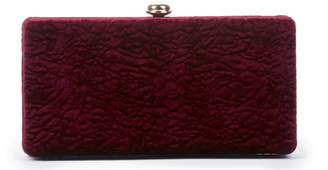 Sole Society Women's Lyn Exotic Velvet Box Clutch Ruby Dacron From