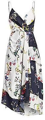 Tanya Taylor Women's Catia Asymmetrical Floral Silk Faux Wrap Dress - Size 0