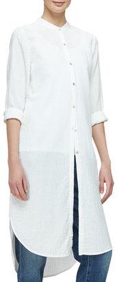 Eileen Fisher Mandarin-Collar Calf-Length Shirt, Black $278 thestylecure.com