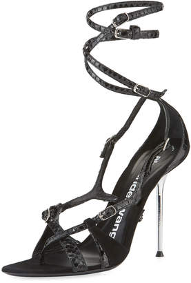 Alexander Wang Kiely Strappy Snake-Print Leather-Suede Ankle-Wrap Sandals