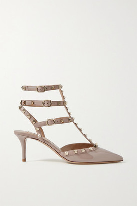 Valentino Garavani The Rockstud Patent-leather Pumps - Beige