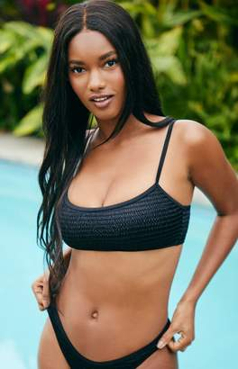 La Hearts Black Cocoa Smocked Cropped Bikini Top