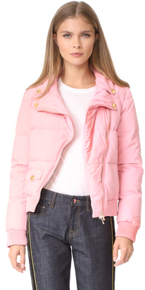 Boutique Moschino Cropped Moto Puffer Jacket $1,050 thestylecure.com