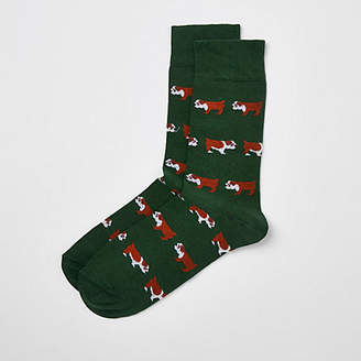 River Island Green bulldog print socks