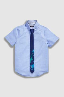 Next Boys Blue Short Sleeve Shirt With Dino Tie (3-16yrs)