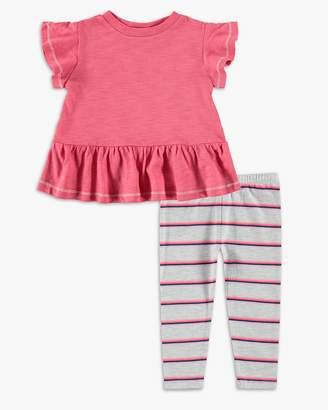 Baby Girl Stripe Gathered Hem Top Set