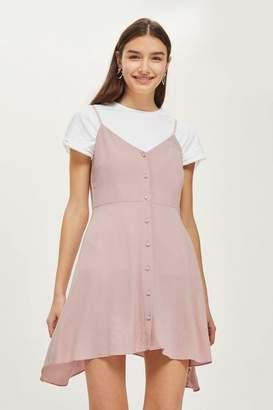 Topshop Petite Button Asymmetric Mini Dress
