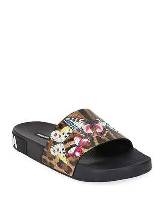 Dolce & Gabbana Leopard and Butterfly Slide Pool Sandals