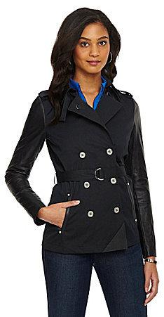 MICHAEL Michael Kors Leather-Trim Sateen Trench Coat