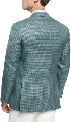 Brioni Check Wool-Silk Sport Coat, Light Green