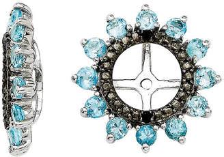 FINE JEWELRY Genuine Swiss Blue Topaz & Black Sapphire Sterling Silver Earring Jackets