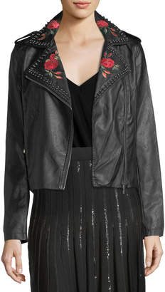 Max Studio Faux-Leather Jacket w/Embroidery