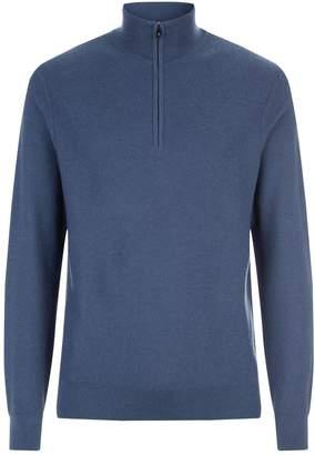 Ralph Lauren Purple Label Textured Half Zip Sweater