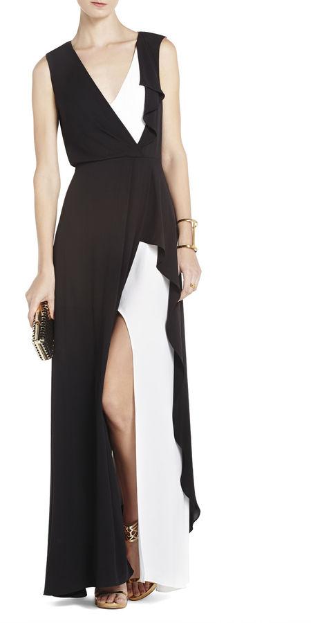 BCBGMAXAZRIA Yuliana V-Neck Evening Dress