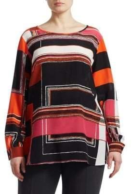 Marina Rinaldi Marina Rinaldi, Plus Size Marina Rinaldi, Plus Size Women's Geometric Silk Blouse - Orange - Size 12W