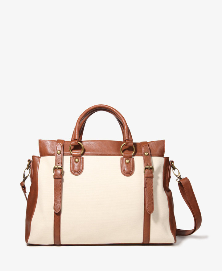 Forever 21 Buckled Canvas Satchel