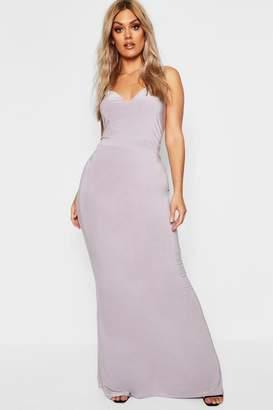 boohoo Plus Asymmetric Strap Plunge Maxi Dress