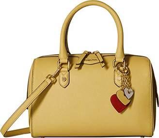 Calvin Klein Saffiano Leather Top Zip Satchel with Charm Hanger
