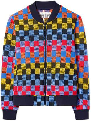 Tory Sport CHECKERED MESH BOMBER JACKET