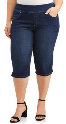 Terra & Sky Women's Stretch Denim Pull-On 2 pocket Capri Pants