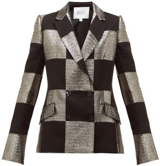 Galvan Ziggy Checked Double Breasted Lame Blazer - Womens - Black Gold