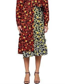 b4cd70456 Proenza Schouler Wildflower Asym Mid Skirt-Printed Viscose Georgette