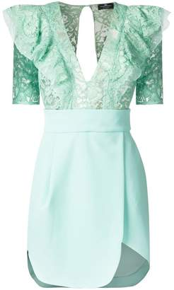 Elisabetta Franchi ruffled lace-panel dress