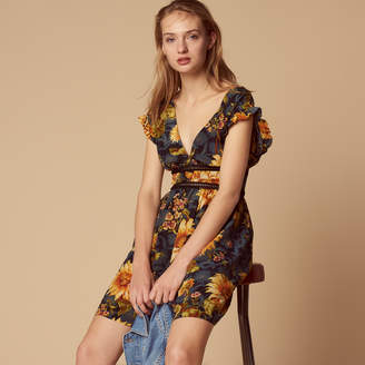 Sandro Silk low-cut dress with printed detail