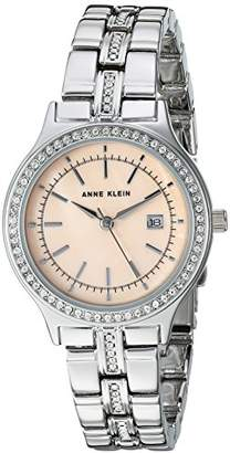 Anne Klein Women's AK/2505PMSV Swarovski Crystal Accented Silver-Tone Bracelet Watch