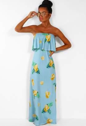 c480ecdad9 Pink Boutique Ray Of Sunshine Blue Lemon Print Strapless Jersey Maxi Dress