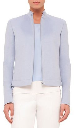 Akris punto Zip-Front Long-Sleeve Jacket, Sky Blue $1,390 thestylecure.com
