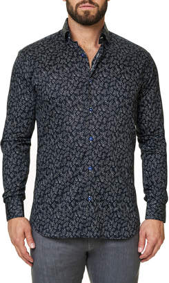 Maceoo Men's Shaped-Fit Luxor Funky Chemistry Sport Shirt
