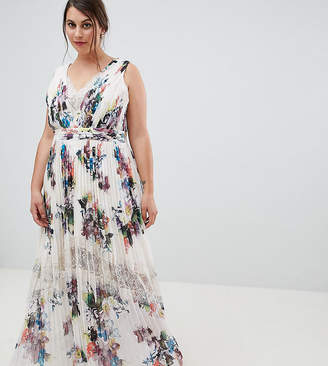 Little Mistress Plus pleated maxi dress in floral print in cream multi