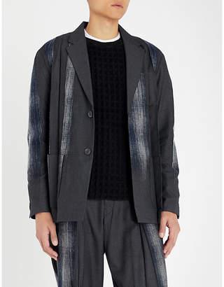 TAAKK Cotton-panelled checked woven jacket