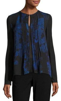 Elie Tahari Northstar Holly Long-Sleeve Printed Silk Blouse, Bluette $298 thestylecure.com
