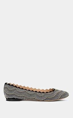 Chloé Women's Lauren Studded Suede Flats - Silver